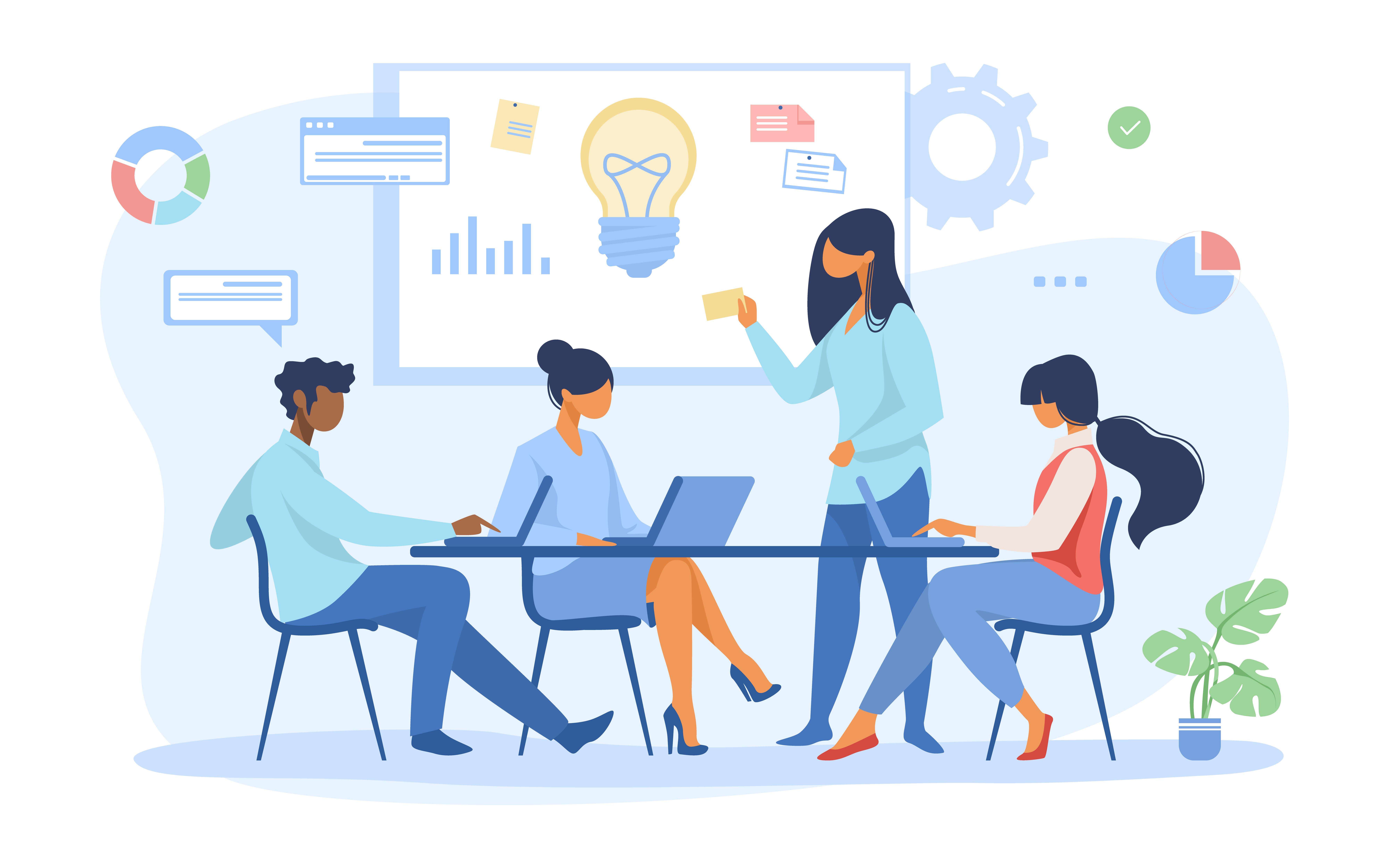 Ilustração de um grupo em sala de reunião, apresentando gráficos.